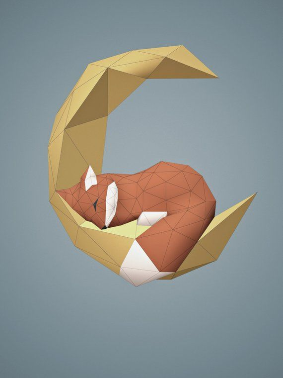 3D Paper Craft Origami Fox Sculpture Print At Home Pdf Home Decor Low Poly Paper Art DIY Gift Idea Fox Sculpture DIY Wall Art