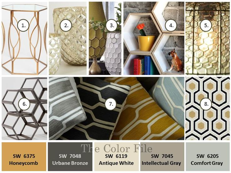 Honeycomb color palette. Shape up your space with #hexagons & #honeycomb Gold, gray, cream & blue. The Color File — Fauxnatic About Color