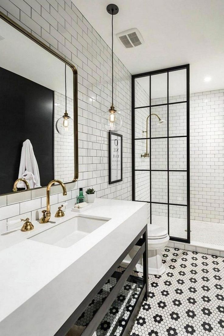 40 Awesome Black And White Subway Tiles Bathroom Design
