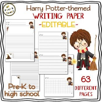 Harry Potter-themed WRITING PAPER - Editable