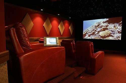 Home theater with raised seating.