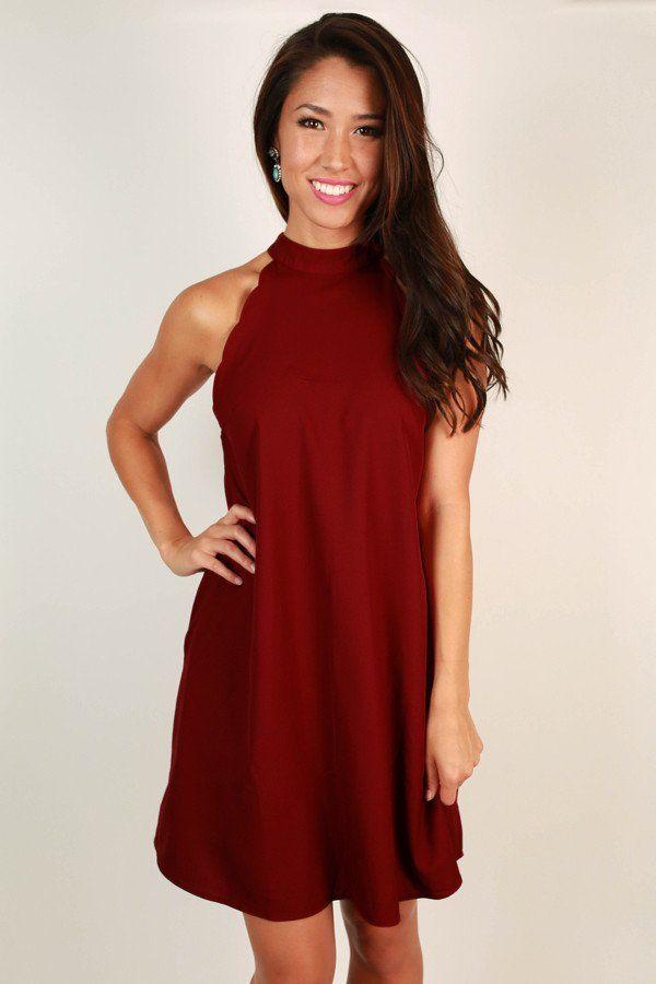 Uptown Vibes Scallop Mini Dress in Crimson