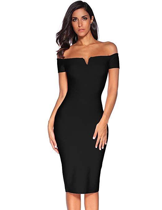 Strapless Knee Length Bandage Dress Black