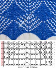 узор 289 ажурные ромбы | каталог вязаных спицами узоров