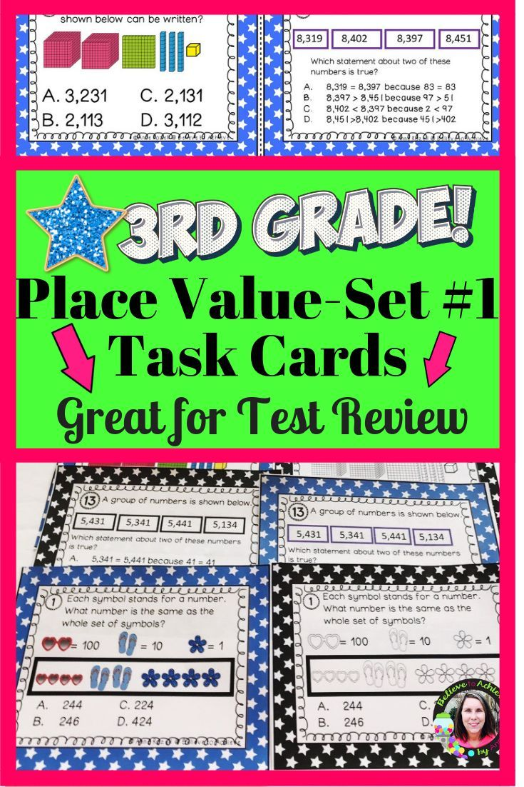 Place Value Task Cards Set 1 Grade 3 Great For Test Review Task Cards Elementary Math Teaching Math