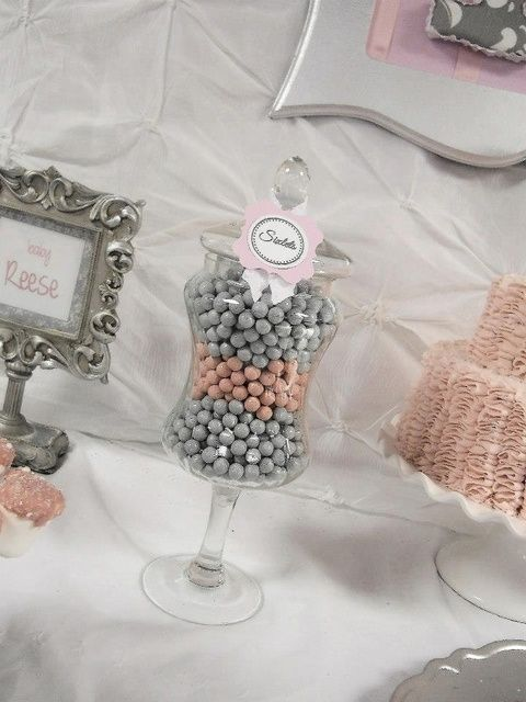 """Candy table ideas - Pink + Grey Damask Baby Shower / Baby Shower/Sip & See """"Pink + Gray Damask Baby Shower"""" 