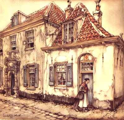 Woman entering her home by Anton Pieck, 1895-1987, Dutch. Pieck was a painter and graphic designer. His illustrations were used for books such as A Christmas Carol by Charles Dickens. His twin brother, Henri Christiaan, was also a painter and illustrator.