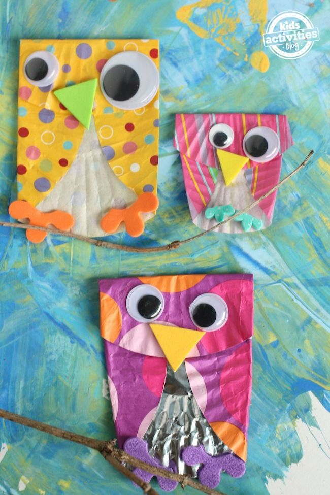 Cupcake Liner Owls. Cute activity to make with kiddos!