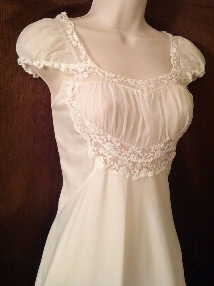 Vintage 30s 40s Forty Winks Sz 34 Nylon Cream Nightgown - Stunning! #FortyWinks #lovevintage #vintage
