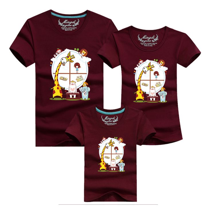Ming Di Family T Shirts New 2017 Fashion Summer Family T Shirt Cartoon Mother Father Baby Tees Cute Short Sleeve Cotton