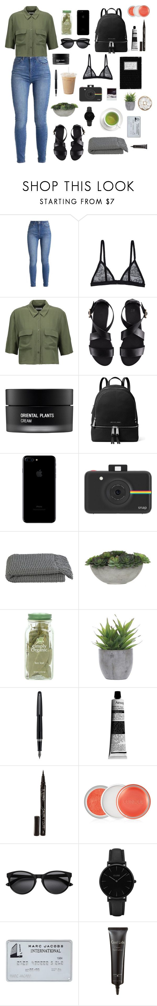 """""""Untitled #50"""" by rubiasol ❤ liked on Polyvore featuring Fleur du Mal, Equipment, H&M, Koh Gen Do, MICHAEL Michael Kors, Polaroid, Crate and Barrel, Lux-Art Silks, Fountain and Aesop"""