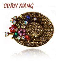 Синди xiang 2 цвета доступны Винтаж горный хрусталь Hat Брошь для Для женщин богемный Шпильки и Броши Bijouterie шарф Bulck подарок