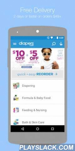 "Diapers.com  Android App - playslack.com ,  Get everything your baby needs in just 1-2 days! Plus, FREE shipping on orders $49+. If only every delivery were this easy. Diapers.com is the fast, easy (and fun!) way to get everything your baby needs delivered at lightning speed. No crowds, no empty shelves, no bundling up baby. Diapers, wipes, formula, clothing & more, delivered in 1-2 days!* We carry all your favorite baby brands - Pampers, Huggies, Britex, Carter's, Graco and more.""This…"