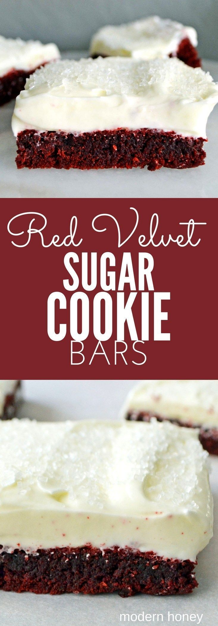 Red Velvet Sugar Cookie Bars. Soft red velvet cookie bars topped with sweet cream cheese frosting. The taste of red velvet cake in a bar...without all the work. www.modernhoney.com