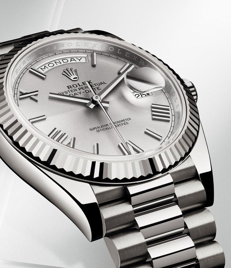 Rolex Day-Date 40 silver dial geometric - Perpetuelle