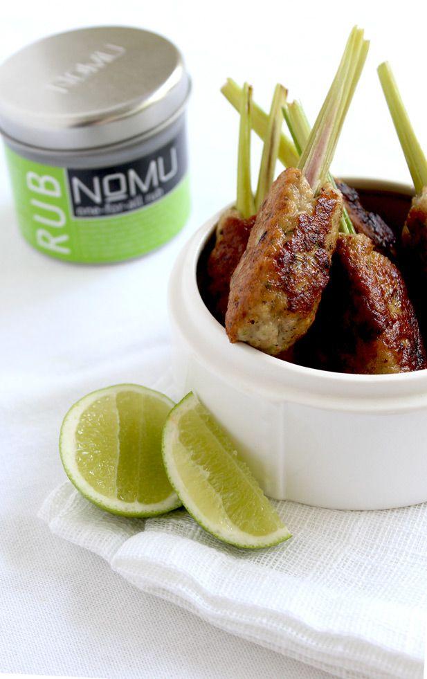 Lemongrass chicken sticks with a rub a dub dub from NoMu