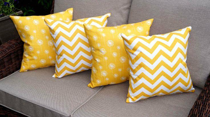 Spring+Sale++Yellow+Throw+Pillow++Zig+Zag+by+LandofPillowsDotCom,+$66.99