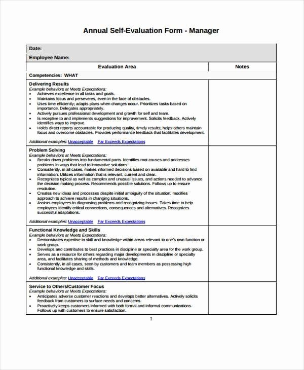 Employee Self Assessment Template In 2020 Evaluation Form
