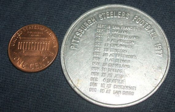 #Vintage Stop N Go #Steelers #Football 1977 #NFL Game Schedule Rare #Token #Coin Food Mart Gas Station #Promotional Advertising #Collectible by ManHoard, $9.99