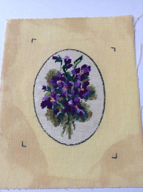 R Floral Needle point 50s Violets