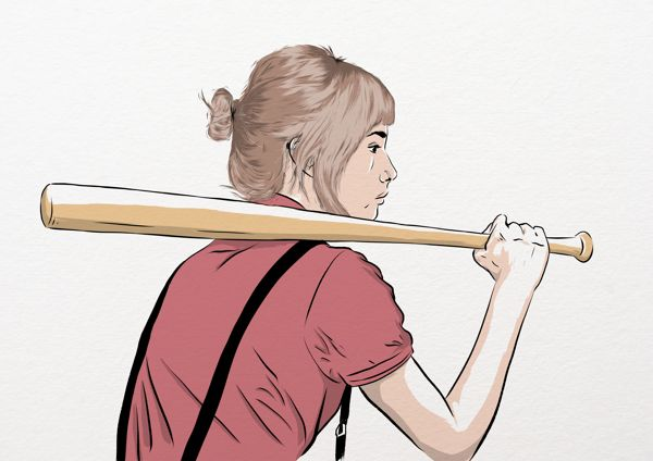 Sweet girl with a baseball bat