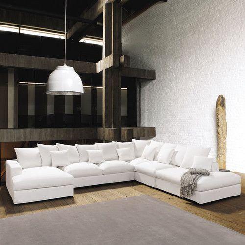 Canapé d'angle 7 places en coton ivoire