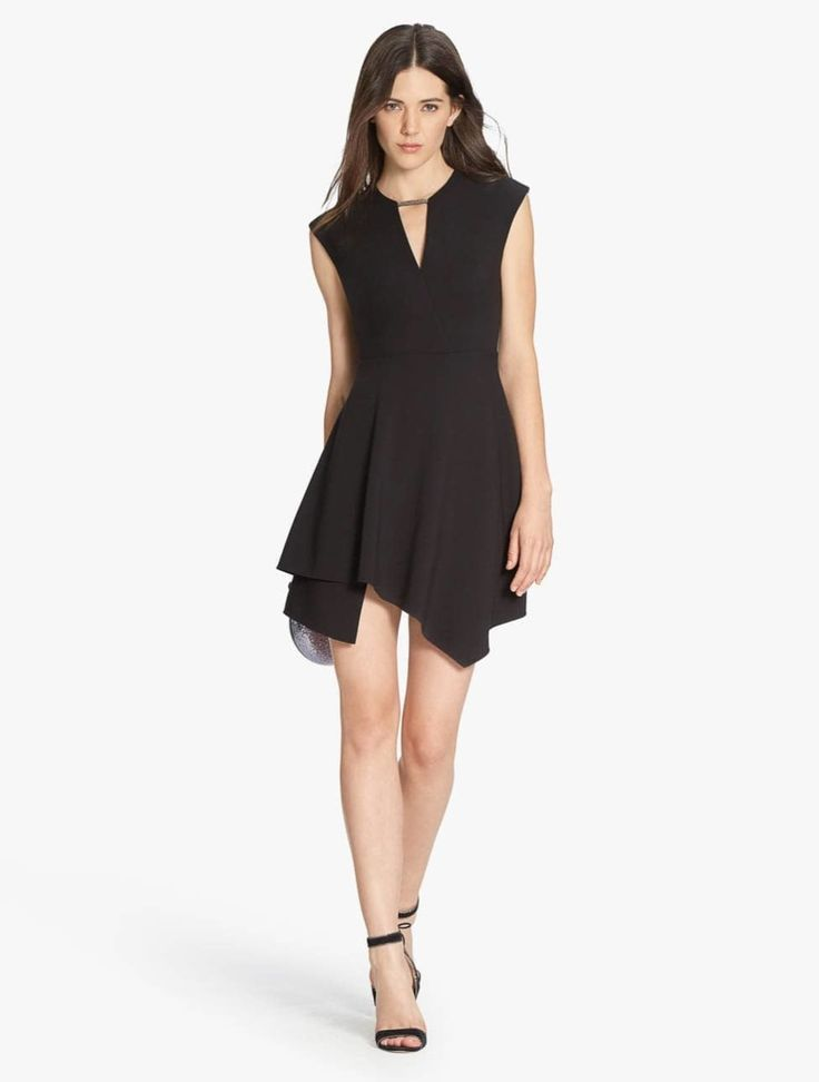 Asymmetric Hem Structured Dress With Mesh Chain Link