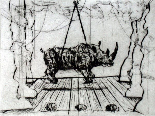 'Performing Rhino' (from Three Rhinos series) - drypoint on Hahnemulle, by William Kentridge, 2004