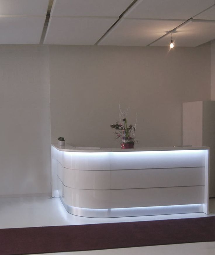 Curved L Rounded Glossy White Reception Desk With Led