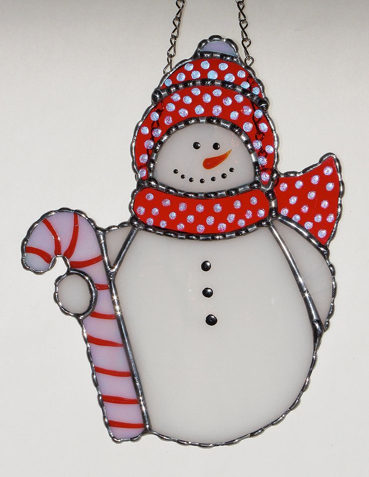 Christmas Holiday Stained Glass Suncatcher - Winter Icy Snowman with Candy Cane by GLASSbits on Etsy https://www.etsy.com/listing/167630845/christmas-holiday-stained-glass