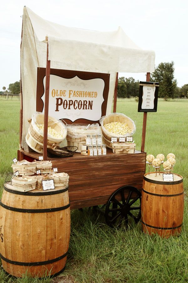 Love the setup! (barrels/wagon/wood) Pen N' Paper Flowers: STYLING | Rustic Popcorn Bar
