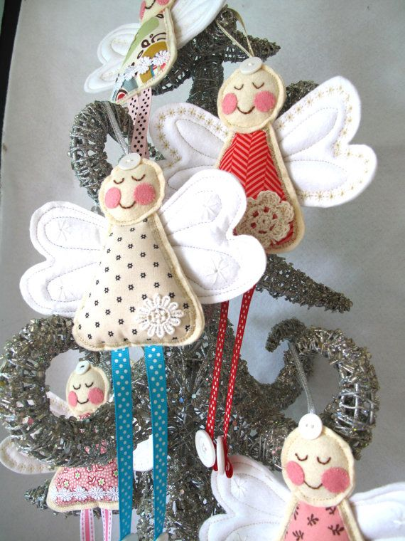 Angel for Christmas or Christening in blue star Fabric by SnowFish