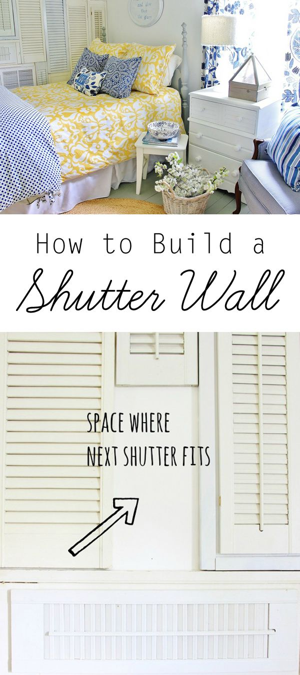 How to Build a Shutter Wall  #DIYShutterWall, #HowToBuildAShutterWall, #Upcycling