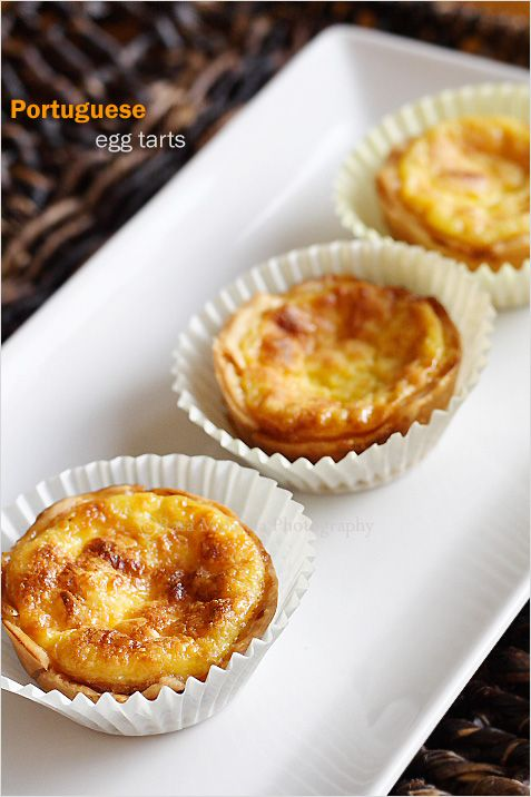 Portuguese Egg Tarts Recipe - pie crust, eggs, sugar, whipping cream, milk and vanilla #dessert