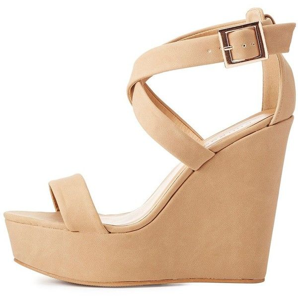 Bamboo Crisscross Wedge Sandals ($25) ❤ liked on Polyvore featuring shoes, sandals, taupe, crisscross sandals, taupe wedge sandals, platform wedge shoes, platform wedge sandals and cushioned sandals