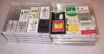 These are empty cd/dvd cases with sewing needles.