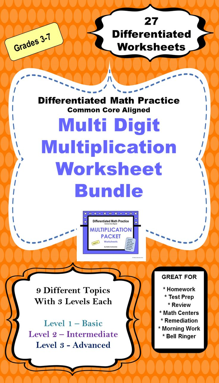 Multiplication Worksheet BUNDLE (3 Levels Plus Word