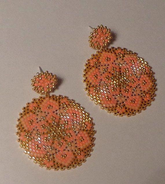 Tutorial Orecchini pendenti Fiori Rosa  Mandala  Tecnica