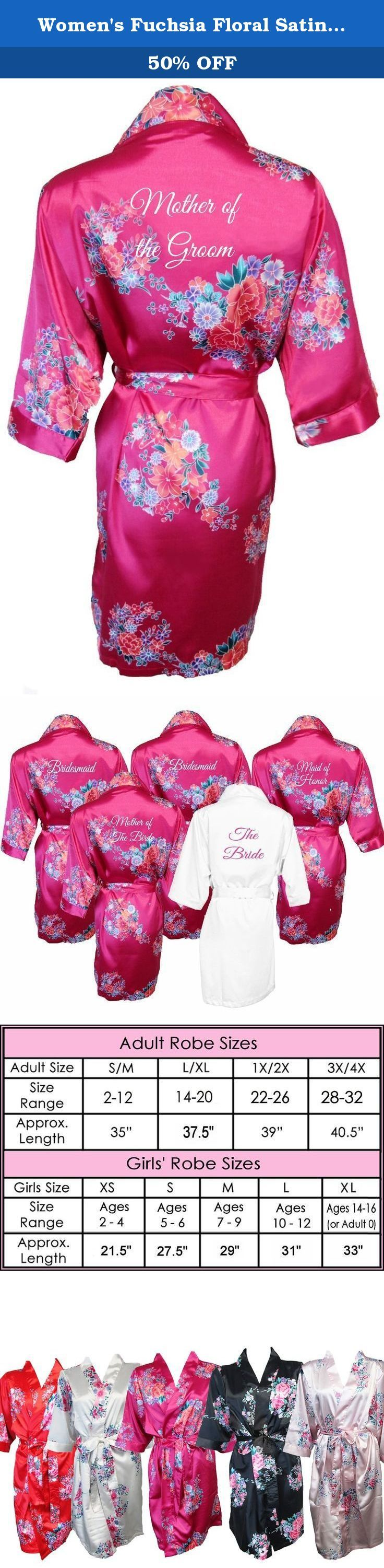 Women's Fuchsia Floral Satin Bridal Vinyl Print Robe Mother of the Groom 1X/2X 22-26. Luxurious Silky Satin Floral Bridal Party Robe with Mother of the Groom title in vinyl print! These luxury satin robes are made of 98% polyester with 2% spandex for the ultimate in comfort. These bridal party robes feature inside ties and a self-fabric belt. Sizes and length are shown on the size chart provided. We offer 5 floral robe colors and a huge variety of bridal party titles, so you can wrap all...