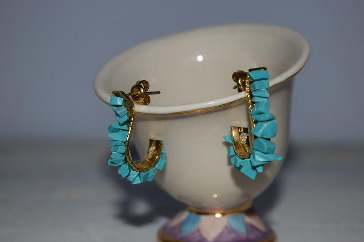 Vintage Halsschmuck - vintage Ethno Ohrringe mit türkisenen Steinen - ein Designerstück von VitaMonella bei DaWanda