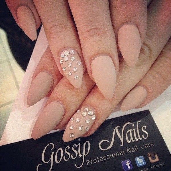 Matte Studded Almond Nail Design. via www. http://forcreativejuice.com/beautiful-almond-nail-designs/