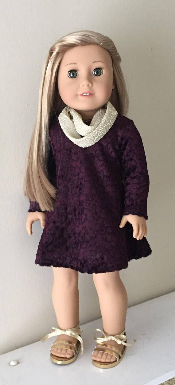 Fits American Girl Doll:  cut velvet swing dress with gold