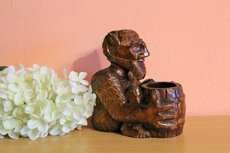Vintage Carved Wood Devil Pencil Holder, Wooden Demon Ashtray Cigarette Box Evil Home Decor, Ring Dish Folk Art by Grandchildattic on Etsy