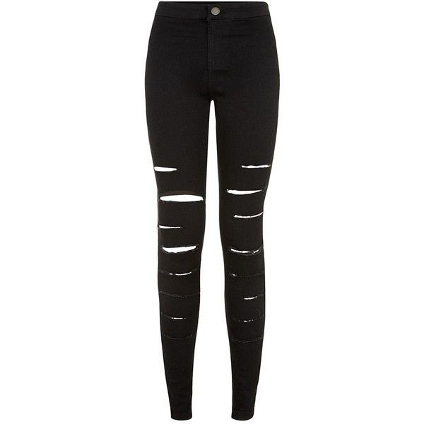 Black Extreme Ripped Disco Jeans ($36) ❤ liked on Polyvore featuring jeans, pants, bottoms, trousers, black, destroyed skinny jeans, torn skinny jeans, super skinny jeans, skinny fit jeans and distressed jeans