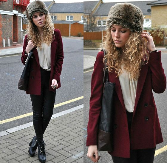 Urban Outfitters Maroon Blazer, Topshop Leather Trousers, Topshop Blouse, Topshop Bag, Topshop Heel Boots