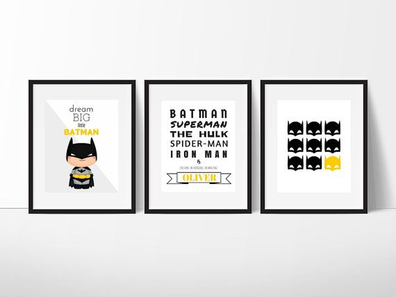 Batman Print Set Batman Wall Art Boys Room by belovedboutiquewpg