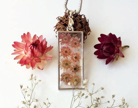 dried flower pendant soft pink flower necklace terrarium #etsy #etsyjewelry #handmade
