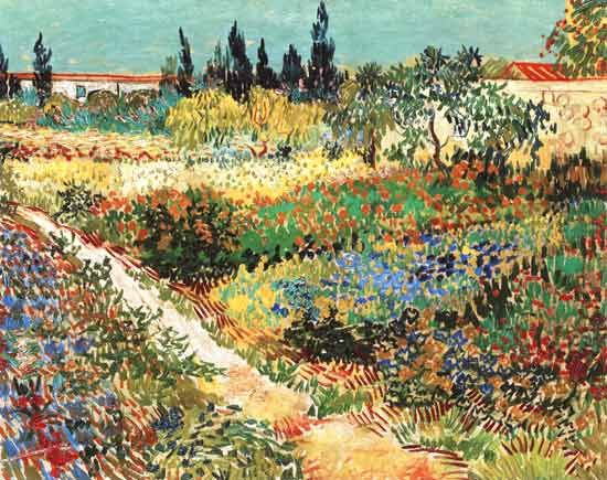 """Les jardins d'Arles (1888) // Vincent van Gogh (expressionnisme) // V.G Trop novateur pour son époque """"Le suicidé de la société"""" // Côté tourmenté dans ses oeuvres, approche arbitraire des couleurs et formes //"""