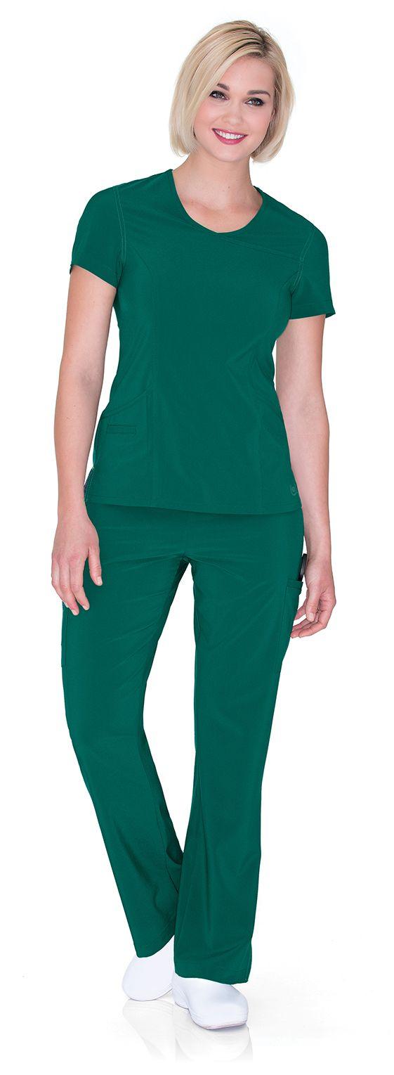 "Urbane Performance: PROPEL top in ""Hunter"" #urbane #scrubs #medical #fashion #urniforms #hospital #nurse #nursing #rn #lpn #lvn #cna #dental #hygienist #vet #tech #spring #green #march #stretch"