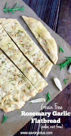 Grain Free Rosemary Garlic Flatbread (paleo, nut free) - savorylotus.com
